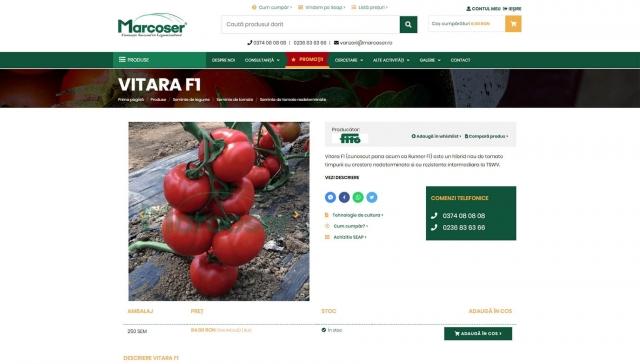 Pagina de produs a site-ului marcoser.ro